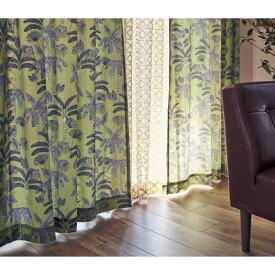 ベルメゾン ヤシの木プリントの麻入りカーテン ◆約100×120(2枚) 約100×135(2枚)◆