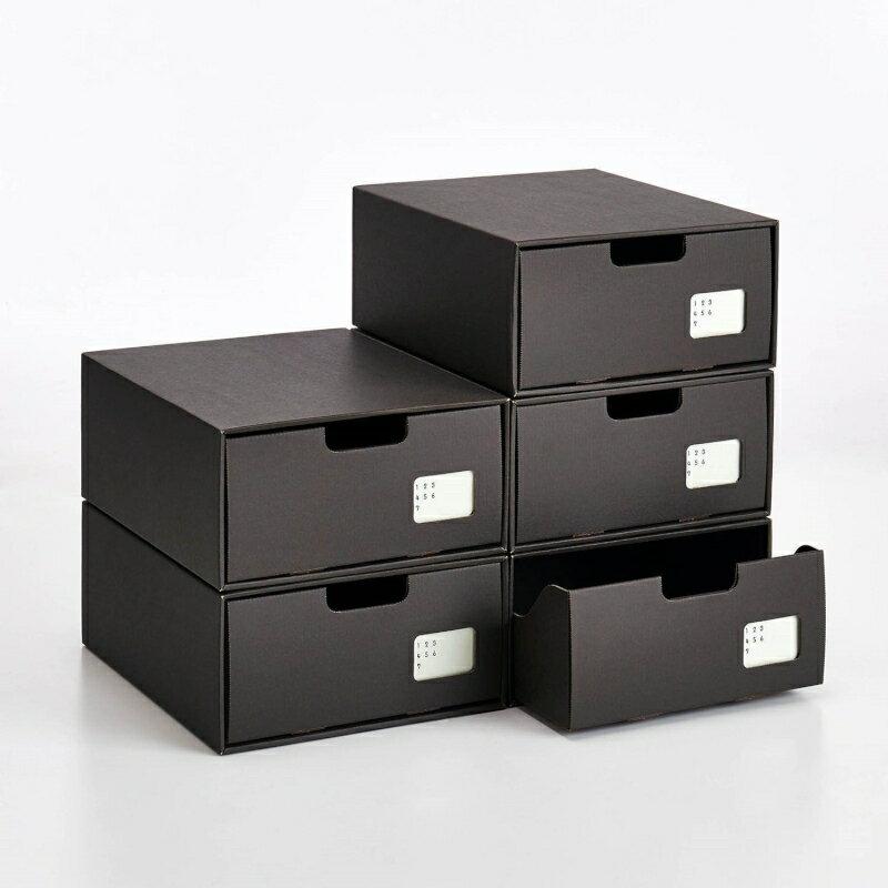 インデックス付きクラフトシューズ収納ボックス5個セット[日本製] 「ダークブラウン」