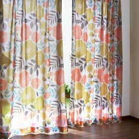【BELLE MAISON】ベルメゾンプリントUVカット・ミラーレースカーテン 「フラワー」 ◆約100×148(2枚)◆ ◇mini labo◇