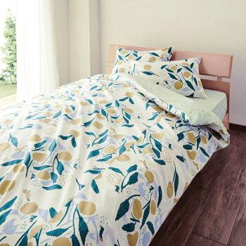 綿100%の布団カバー3点セット(木の実)「パープル」