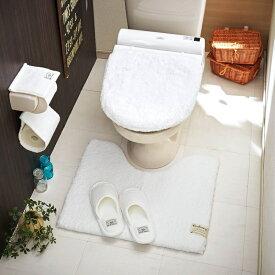 ベルメゾン もこもこボリュームのトイレマット<クッショニー> 「ホワイト」 ◆標準マット&温水洗浄便座フタセット◆ ◇ トイレ 便所 お手洗い おしゃれ ◇