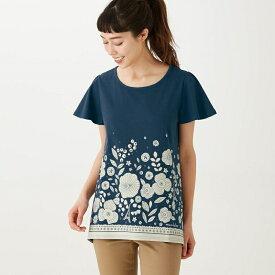 ベルメゾン 綿100%フレアな形のチュニックTシャツ 「パリのお花(ネイビー)」◆S M L LL 3L(サイズ)◆◇ mini labo ◇