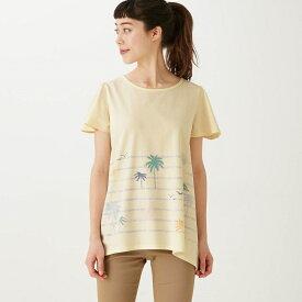 【BELLE MAISON】ベルメゾン 綿100%フレアな形のチュニックTシャツ 「フレンチ・リビエラ(アイボリー)」 ◆S M L LL 3L◆ ◇mini labo◇