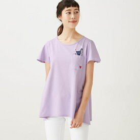 【BELLE MAISON】ベルメゾン 綿100%フレアな形のチュニックTシャツ 「リトル・ラブキャット(ラベンダー)」 ◆4L 5L 6L◆ ◇mini labo◇