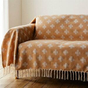 ベルメゾン シンプル北欧調デザインのインド綿マルチカバー 「 オレンジ 」 ◆ 約120×190 ◆ ◇ フリー クロス マルチ カバー 汚れ 防止 ソファ ソファー ベッド おしゃれ かわいい デザイン