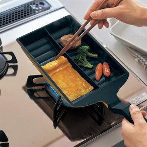 ベルメゾン 卵焼きを簡単に作れる仕切り付き角型フライパン ガス火専用 ◇ 調理 料理 器具 ツール 道具 フライパン パン ◇