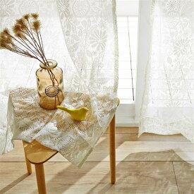"""ベルメゾン 編み柄のきれいなレースカーテン""""刺繍のようなお花畑"""" ◆ 約100×148(2枚) 約100×176(2枚) 約100×183(2枚) 約200×133(1枚)▲ ◆ ◇ mini labo ミニラボ カーテン リビング 寝室 子供部屋 厚地 ドレープ おしゃれ デザイン かわいい ◇"""
