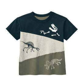 【ベルメゾン】 恐竜切替え Tシャツ 「ブラック×カーキ系」◆ 90 100 110 120 130 ◆◇ 子供 服 子供用 こども キッズ 男の子 Tシャツ 子供服 通園 通学 ◇