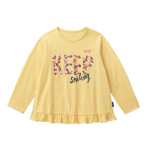 【ベルメゾン】 名札ココ かわいいプリント 裾フリル 長袖 Tシャツ 「イエロー」 ◆ 80 90 100 110 120 130 ◇ 子供服 キッズ ガールズ 女の子 通園 通学 学校