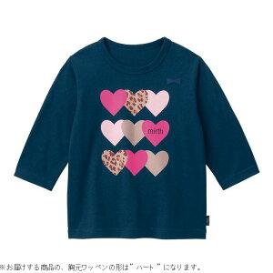 【ベルメゾン】 名札ココ かわいいプリント 七分袖 Tシャツ 「ネイビー」 ◆ 140 150 ◇ 子供服 キッズ ガールズ 女の子 通学 学校 長袖