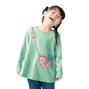 【ベルメゾン】 名札ココ かわいいプリント Aライン 長袖 Tシャツ 「ミント」 ◆ 140 150 ◇ 子供服 キッズ ガールズ 女の子 通学 学校
