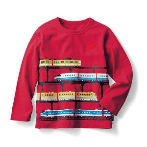 【ベルメゾン】 名札ココ かっこいいプリント 長袖 Tシャツ 「レッド」 ◆ 140 150 ◇ 子供服 キッズ 男の子 ボーイズ 通学 学校