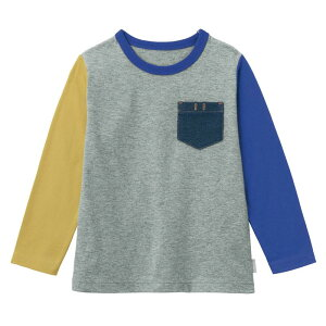 【ベルメゾン】 名札ココ おしゃれデニムポケット付き 長袖 Tシャツ 「杢グレー×ブルー」 ◆ 140 150 ◇ 子供服 キッズ 男の子 ボーイズ 通学 学校