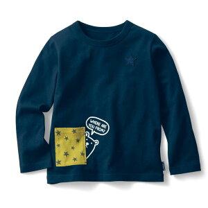 【ベルメゾン】 名札ココ おしゃれデザインポケット付き 長袖 Tシャツ 「ネイビー」 ◆ 140 150 ◇ 子供服 キッズ 男の子 ボーイズ 通学 学校
