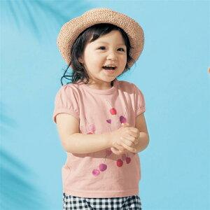 【ベルメゾン】 薄くて涼しい プリント パフスリーブ Tシャツ 「ライトスモーキーピンク」 ◆ 80 90 100 ◆◇ ベビー服 ベビー 服 新生児 女の子 ベビー用品 新生児服 出産祝い ギフト プレゼン