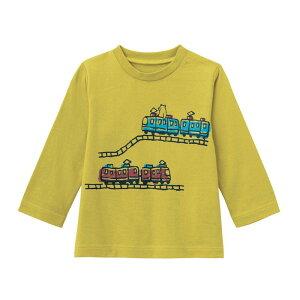 【ベルメゾン】 ゆるいタッチが可愛い プリント 長袖 Tシャツ 「グリーンイエロー」 ◆ 80 90 100 ◆◇ ベビー服 ベビー 服 新生児 男の子 女の子 ベビー用品 新生児服 出産祝い ギフト プレゼ