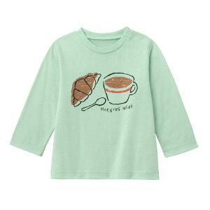 【ベルメゾン】 ゆるいタッチが可愛い プリント 長袖 Tシャツ 「ミント」 ◆ 80 90 100 ◆◇ ベビー服 ベビー 服 新生児 男の子 女の子 ベビー用品 新生児服 出産祝い ギフト プレゼント トップ