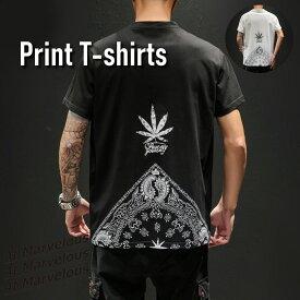 バックペイズリーTシャツ 半袖 バンダナ柄 ストリートファッション