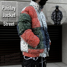 ペイズリー 中綿ブルゾン メンズ ストリートファッション 肉厚 アウター パネル柄 バンダナ柄 ジャケット ストリート系 ファイバー ダウン ペーズリー 総柄プリント 防寒 トレンド 再入荷 人気 かっこいい 冬アウター ストリートカジュアル