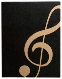 ミュージックレッスンファイル FL-95/GC/BLG ト音記号  ブラックゴールド 表紙:黒 ナカノ nakano A3サイズ対応 FL95GCBLG サイドイン(横入れ)楽譜ファイル 24ポケット