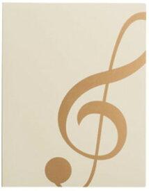 ミュージックレッスンファイル FL-95/GC/IVG ト音記号  アイボリーゴールド 表紙:アイボリー ナカノ nakano A3サイズ対応 FL95GCIVG サイドイン(横入れ)楽譜ファイル 24ポケット