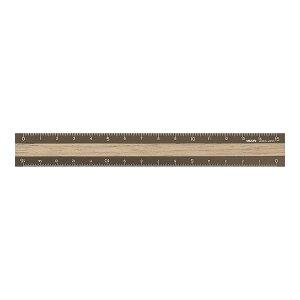 アルミ&ウッド定規 15cm 茶×茶 42280006 アルミ+木製じょうぎ レーザー刻印目盛 カッター使用OK 0.5mm単位・1mm単位目盛 アルミウッド ruler MIDORI/ミドリ