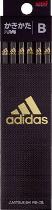 ◎アディダス<adidas> かきかた鉛筆12本入り 紙箱タイプ (B) 黒金 K5601B 六角軸 5601 AI04 銀黒 B 三菱鉛筆 紙箱級/文具/文房具/新入学