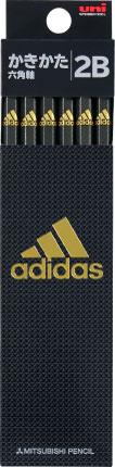◎アディダス<adidas> かきかた鉛筆12本入り 紙箱タイプ (2B) 黒金 K56012B 六角軸 5601 AI04 銀黒 2B 三菱鉛筆 紙箱級/文具/文房具/新入学