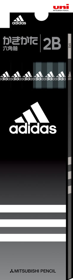 ◎アディダス<adidas> かきかた鉛筆12本入り 紙箱タイプ (2B) ブラック K55882B 六角軸 三菱鉛筆 紙箱級/文具/文房具/新入学