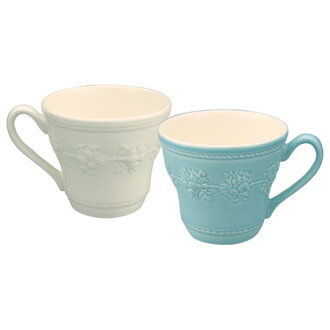 Wedgwood Queens ware festivity マグカップペア gift set ivory & blue