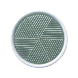 白山陶器 彫釉彩 反りふたもの Mサイズ グリーン