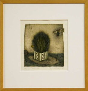 岩切裕子 額付き木版画 Green box(2001年)