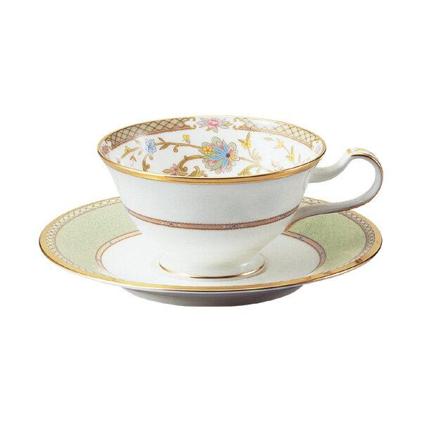 ノリタケ ボーンチャイナ ヨシノ ティー・コーヒー碗皿(カップ&ソーサー) グリーン