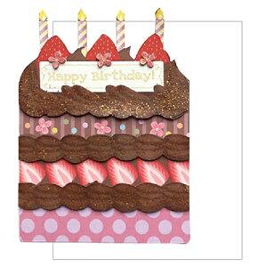 グリッターケーキ バースデーカード/チョコレートクリーム