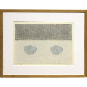 山中 現 額付き木版画 『二つの青』 1997年