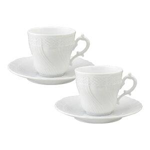 リチャード・ジノリ ベッキオホワイト コーヒーカップ&ソーサー Lサイズ ペアギフトセット