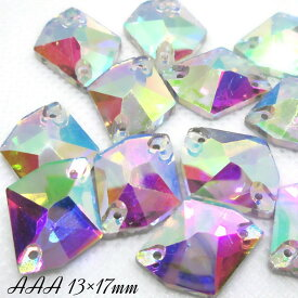 ガラスビジュー ガラスストーン 高輝度ビジュー ソーオン ソーオンビジュー コズミック クリスタルオーロラ 衣装パーツ 縫い付けビジュー 13×17mm AAA crystalAB 12粒
