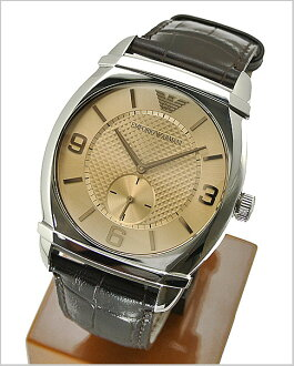Brown dial-leather belt men's watch AR0338