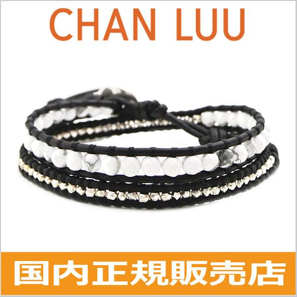 チャンルー CHAN LUU ストーンビーズミックス 2連ラップブレスレット メンズ & レディース/ユニセックス チャンルー CHANLUU WHITE HOWLITE-NATURAL BLACK BS-5253CLJ-WHBK