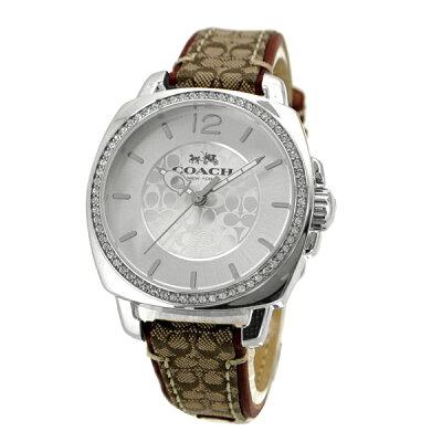コーチCOACH腕時計Boyfriendボーイフレンドシグネチャーシルバー/ブラウンレディース14502415
