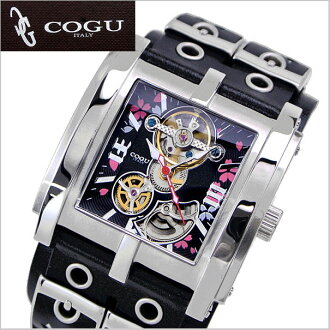 COGU (COG) SAKURA (cherry blossom) mechanical watch, automatic movement / leather belt-black