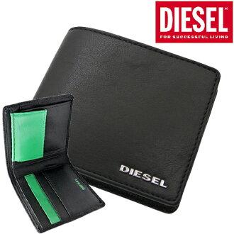 柴油DIESEL对开钱包短钱包皮革/本皮革、黑色x绿色/人柴油DIESEL X04459 PR227 H5155