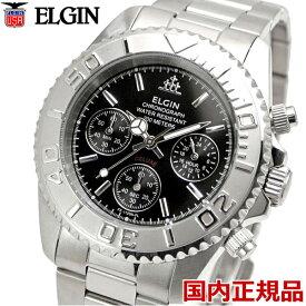 ELGIN エルジン 腕時計 クロノグラフ メンズ ブラック FK1120S-B