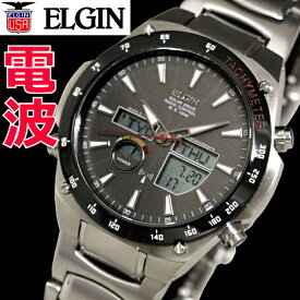 エルジン ELGIN フルメタルソーラー電波時計 メンズ ワールドタイム・クロノグラフ/ステンレス製 エルジン ELGIN FK1416S-BP