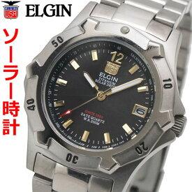エルジン ELGIN ソーラー ダイバー腕時計 チタン(チタニウム)製 20気圧防水 太陽電池 メンズ 男性用 エルジン FK1423TI-B