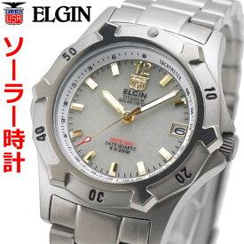 エルジン ELGIN ソーラー ダイバー腕時計 チタン(チタニウム)製 20気圧防水 太陽電池 蓄光文字盤 メンズ 男性用 エルジン FK1423TI-BR