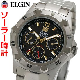 エルジン ELGIN ソーラー ダイバー腕時計 チタン(チタニウム)製 マルチカレンダー 20気圧防水 太陽電池 メンズ 男性用 エルジン FK1424TI-B