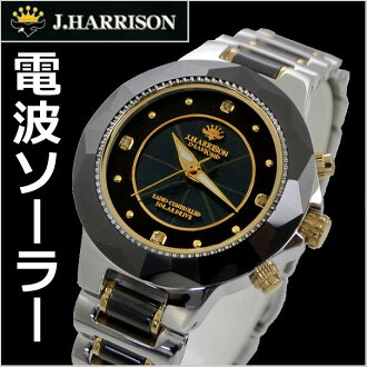 J.HARRISON 太阳能电波手表天然金刚石 4 石头与女士们 / 女子约翰 · 哈里森 JH-024LBB