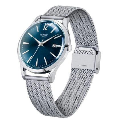 【ヘンリーロンドン】HENRYLONDON腕時計39mm男女兼用ユニセックスメンズ/レディースメッシュベルトブルーヘンリーロンドンHENRYLONDONナイツブリッジKnightsbridgeHL39-M-0029
