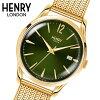 【ヘンリーロンドン】HENRYLONDON腕時計39mm男女兼用ユニセックスメンズ/レディースメッシュベルトグリーンxイエローゴールドヘンリーロンドンHENRYLONDONチズウィックChiswickHL39-M-0102